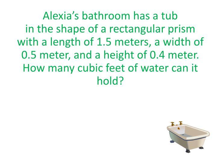Alexia's bathroom has a tub