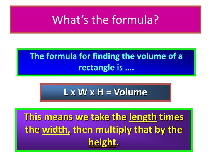 What's the formula?