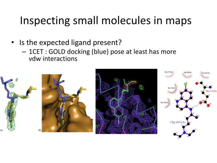 Inspecting small molecules in maps