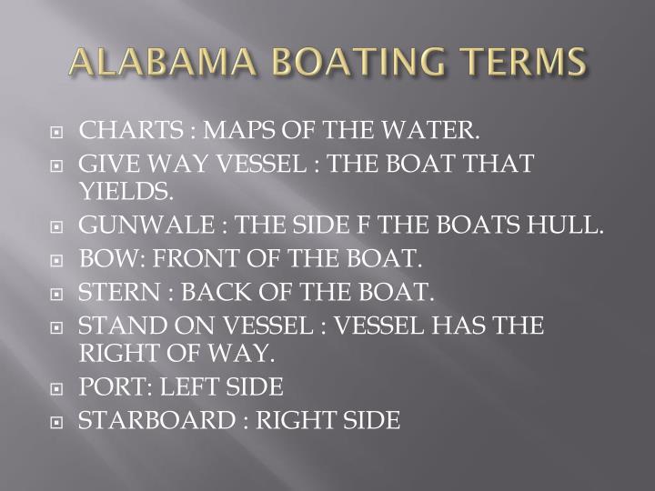 ALABAMA BOATING TERMS