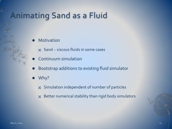 Animating Sand as a Fluid