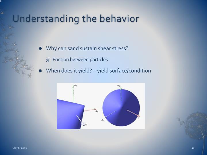 Understanding the behavior