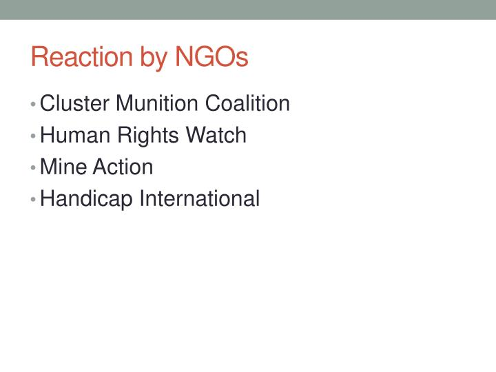 Reaction by NGOs