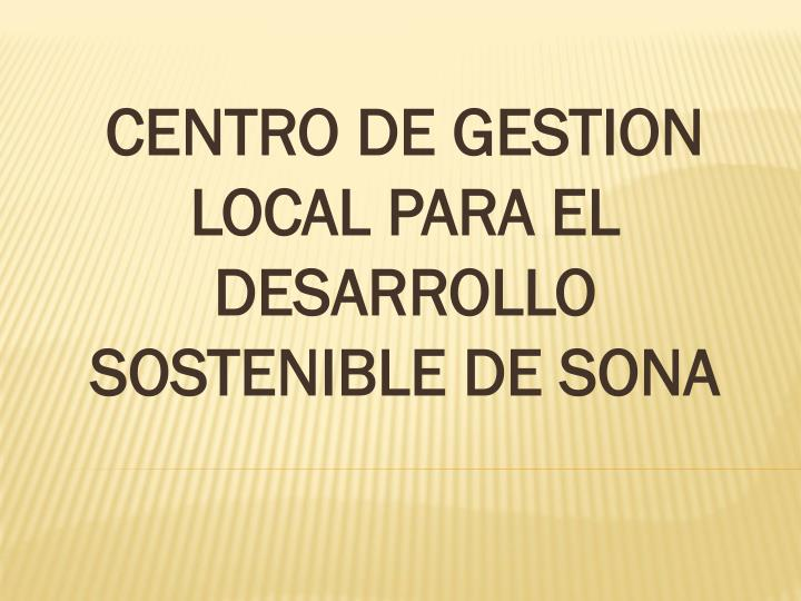 CENTRO DE GESTION LOCAL PARA EL DESARROLLO SOSTENIBLE DE SONA