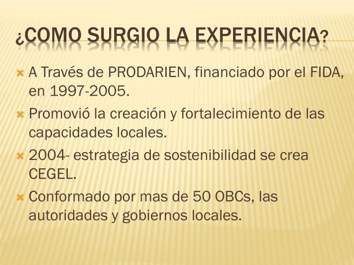 A Través de PRODARIEN, financiado por el FIDA, en 1997-2005.