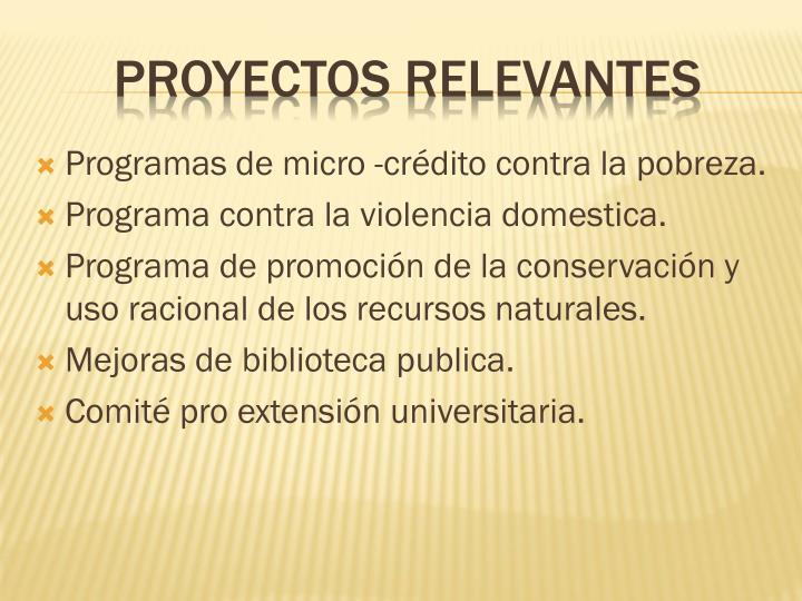 Programas de micro -crédito contra la pobreza.