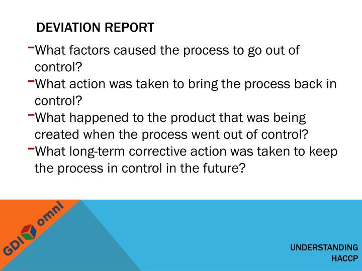Deviation report