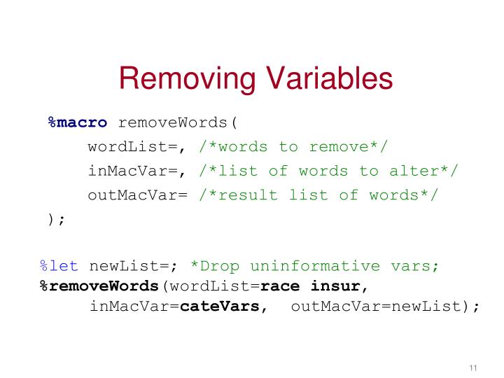 Removing Variables