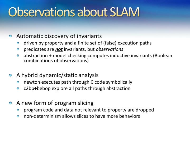 Observations about SLAM