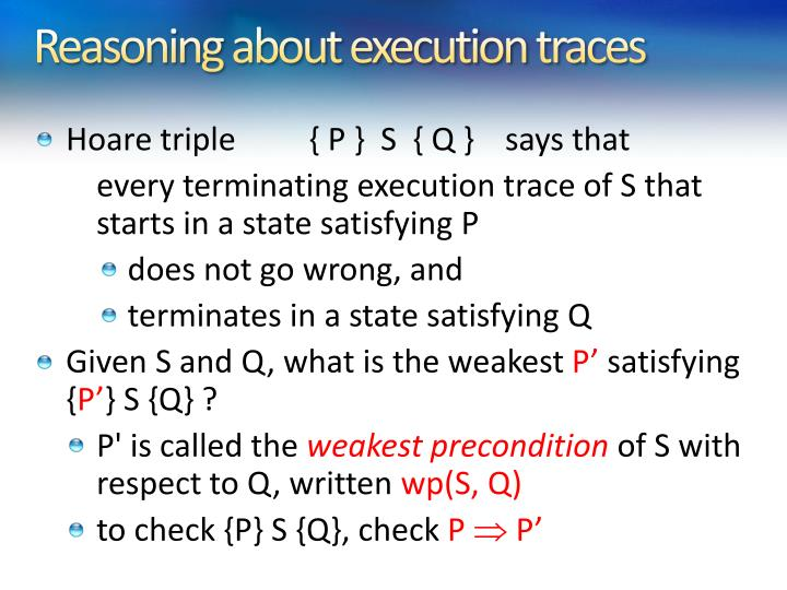 Reasoning about execution traces