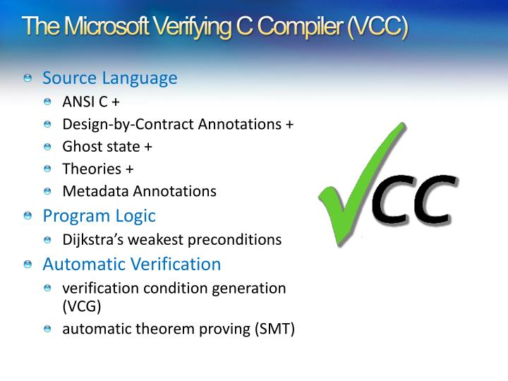 The Microsoft Verifying C Compiler (VCC)