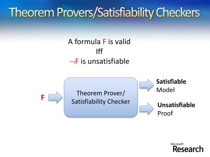 Theorem provers satisfiability checkers
