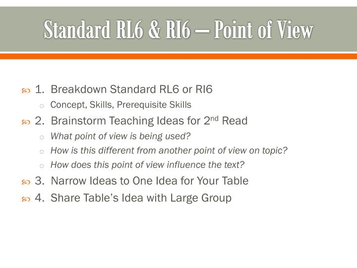 Standard RL6 & RI6 – Point of View