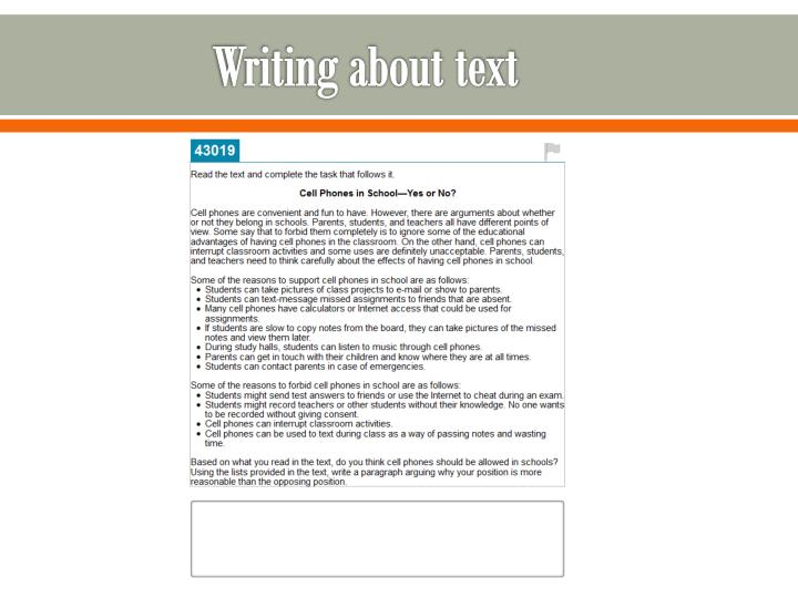 Writing about text