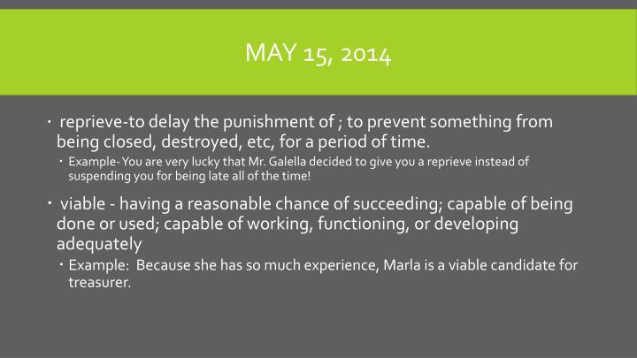 May 15, 2014