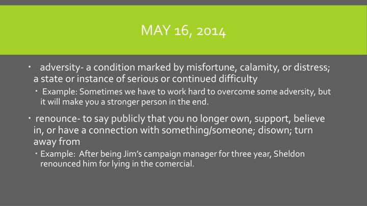 May 16, 2014