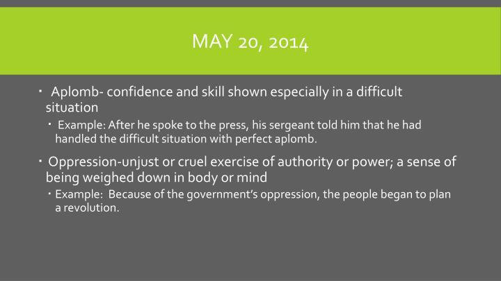 May 20, 2014