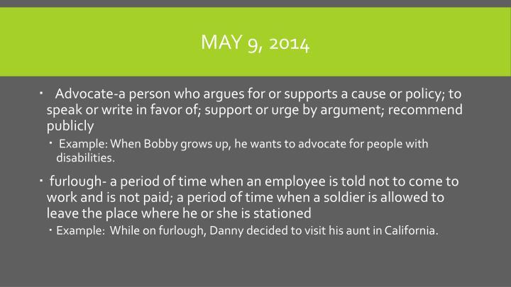 May 9, 2014