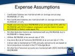 expense assumptions