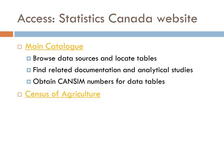 Access: Statistics Canada website