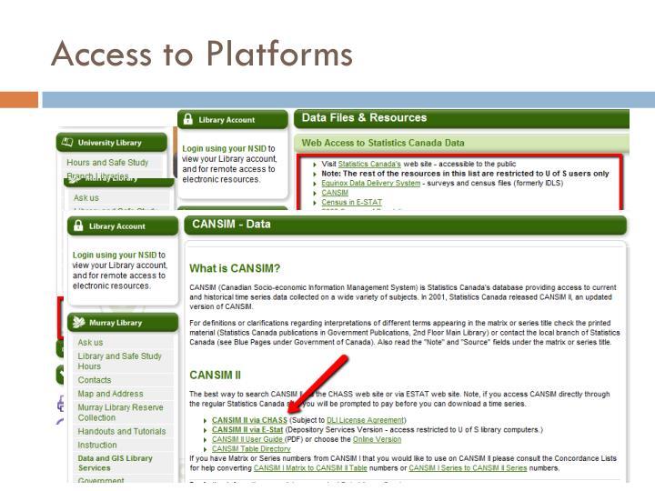 Access to Platforms