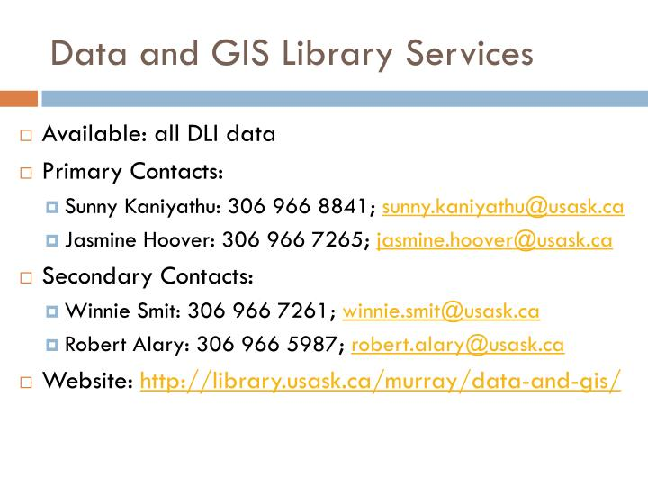 Data and GIS Library Services