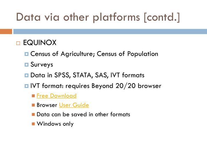 Data via other platforms [contd.]