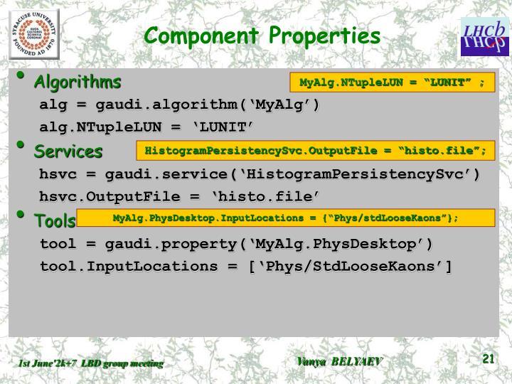 Component Properties