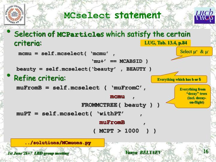 MCselect