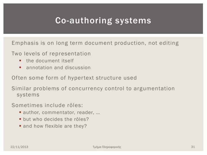 Co-authoring systems