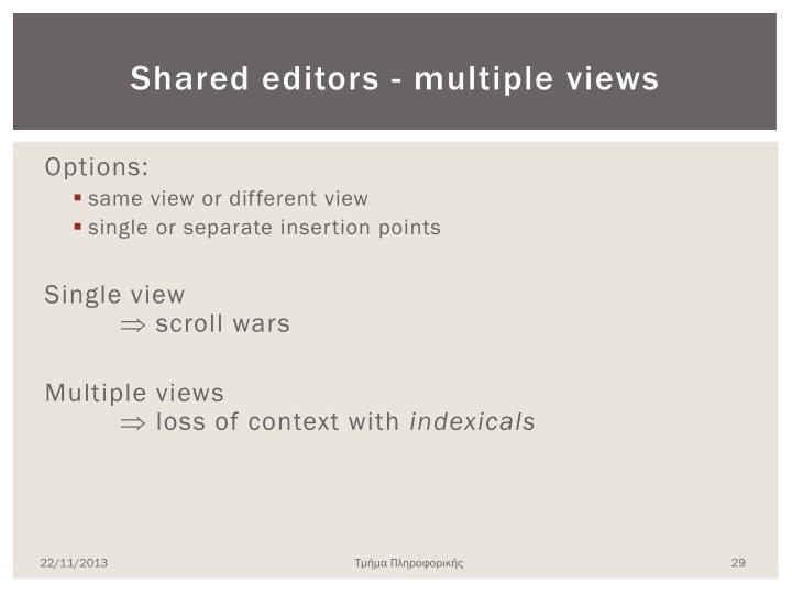 Shared editors - multiple views