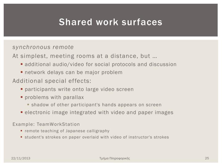 Shared work surfaces