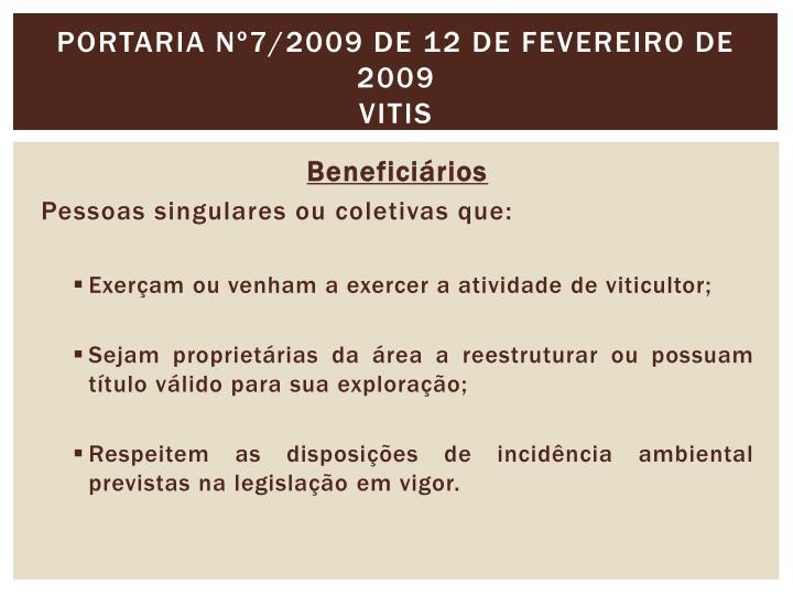 Portaria nº7/2009 de 12 de Fevereiro de 2009
