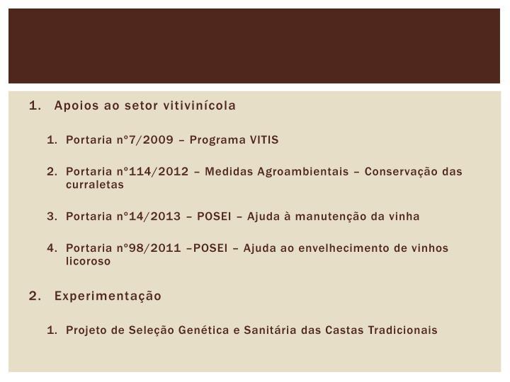 Apoios ao setor vitivinícola