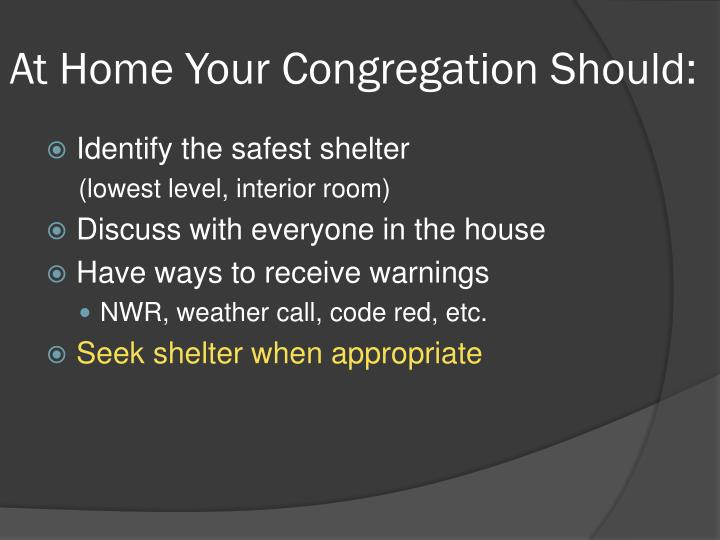 At Home Your Congregation Should: