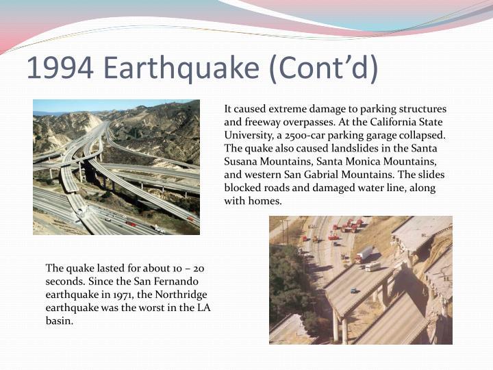 1994 Earthquake (Cont'd)