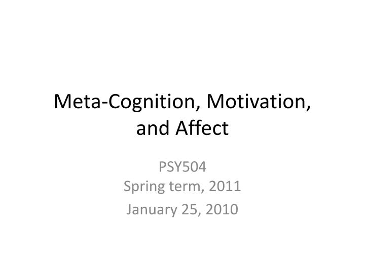 meta cognition motivation and affect