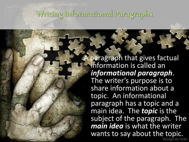 Writing Informational Paragraphs