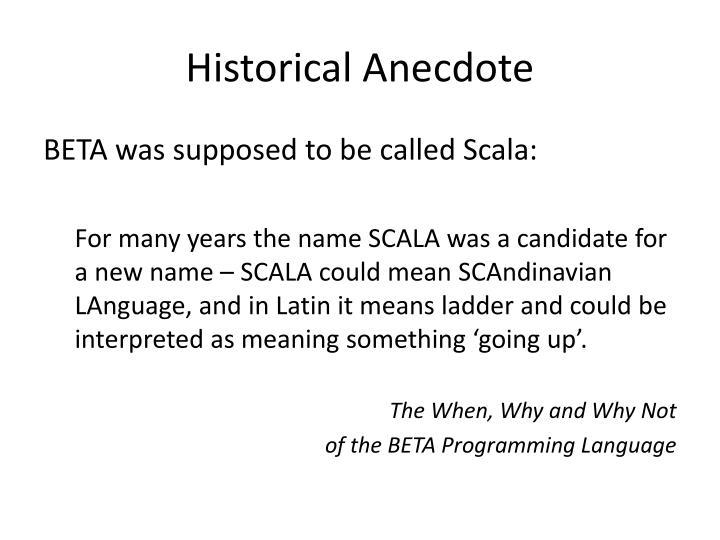 Historical Anecdote