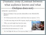 dramatic irony contrast between what audience knows and what oedipus does not