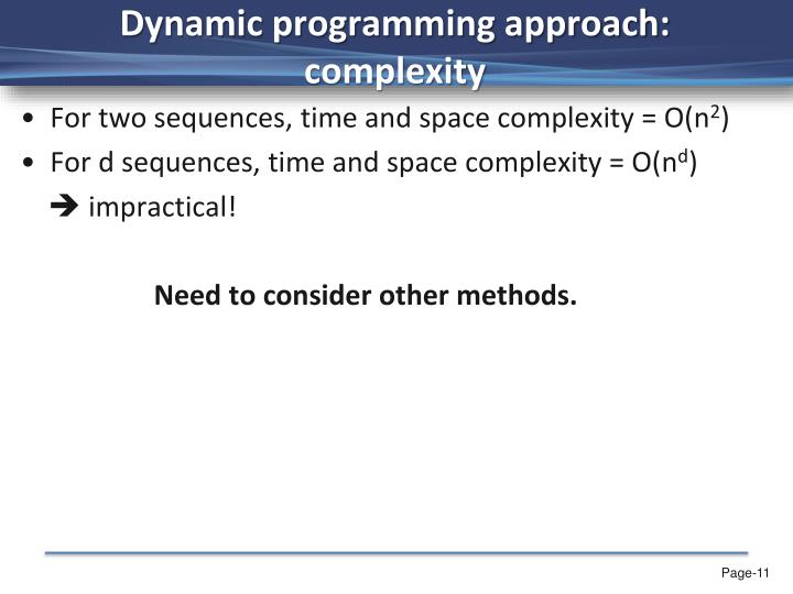 Dynamic programming approach: complexity