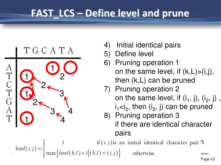 FAST_LCS – Define level and prune