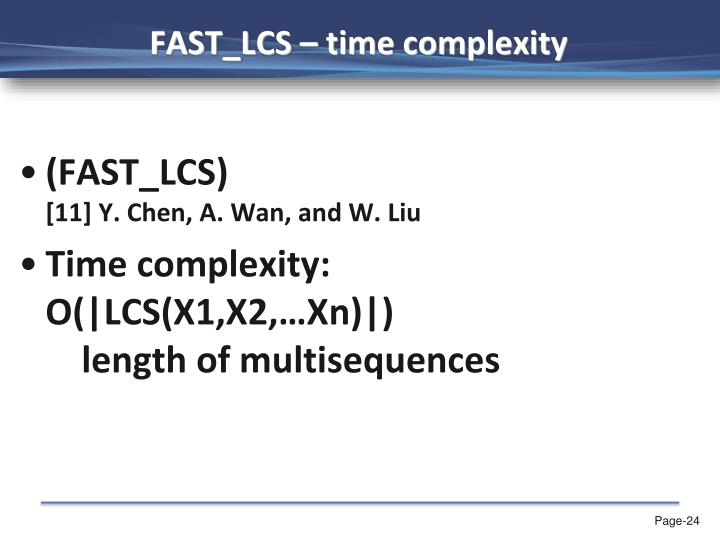 FAST_LCS – time complexity