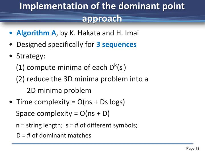 Implementation of the dominant point approach