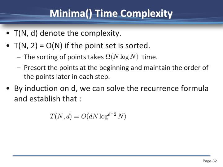 Minima() Time Complexity