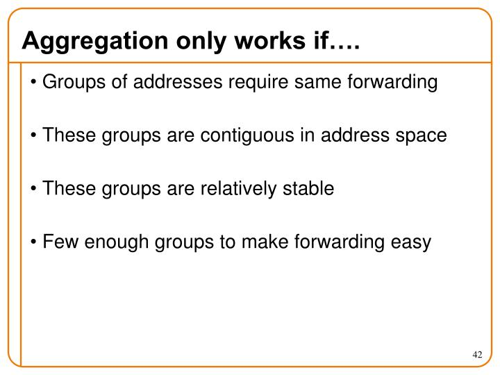 Aggregation only works if….