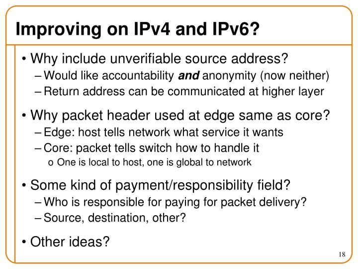 Improving on IPv4 and IPv6?