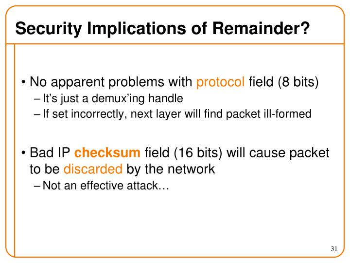 Security Implications of Remainder?