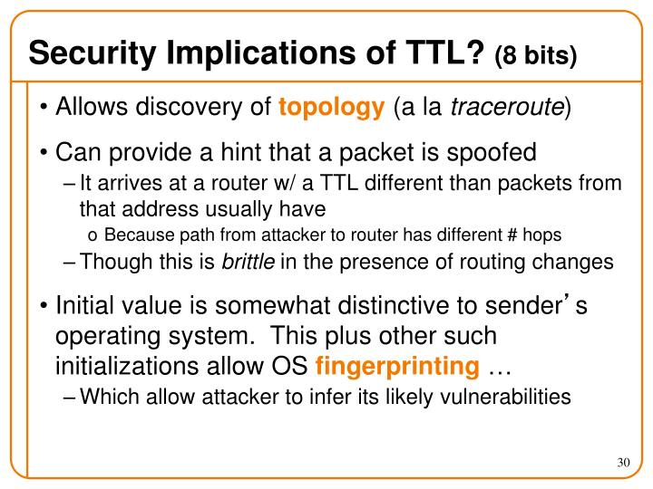 Security Implications of TTL?