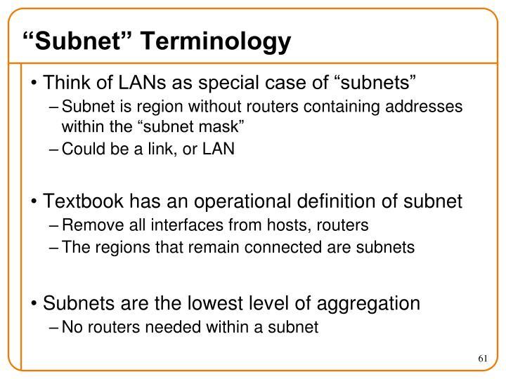 """Subnet"" Terminology"
